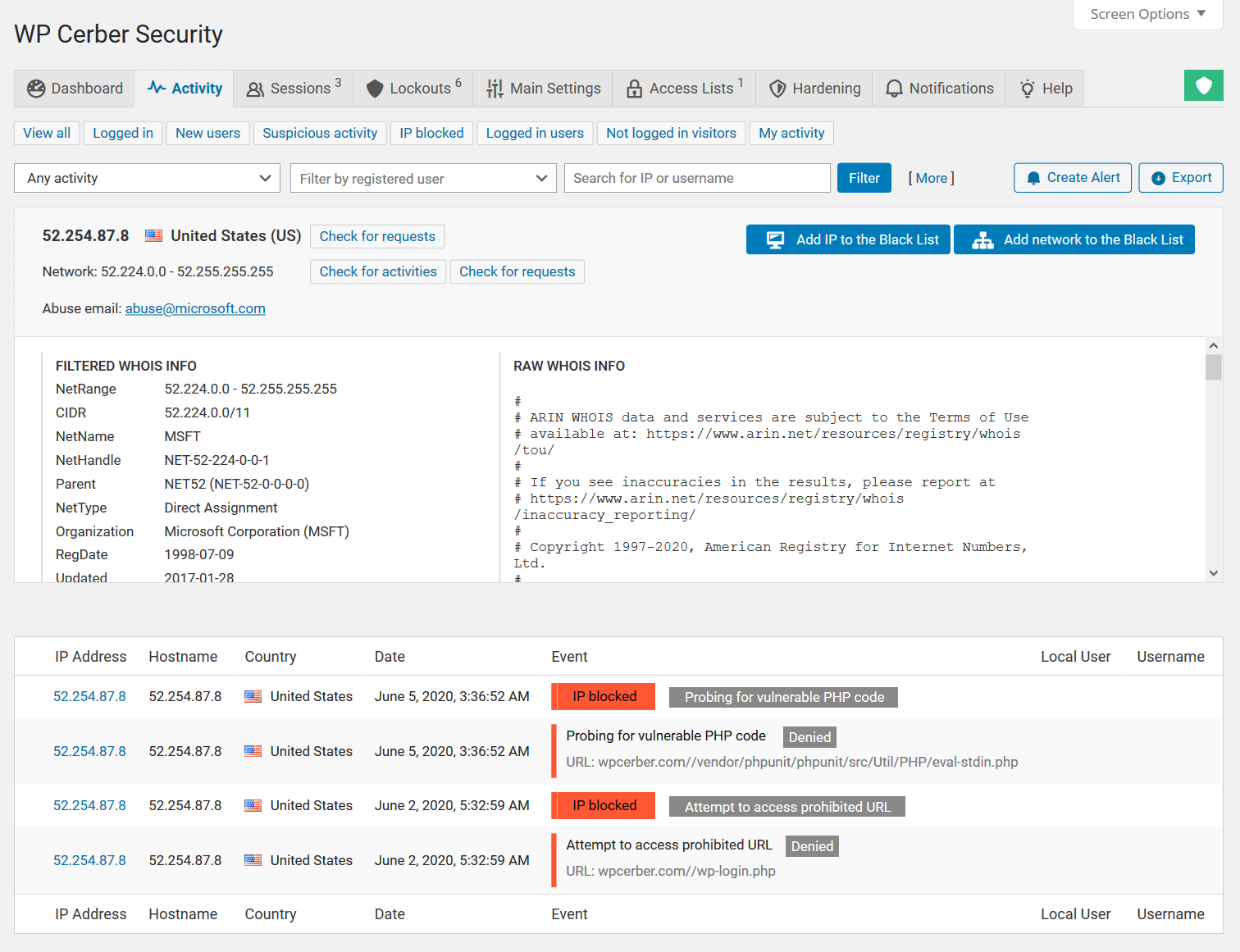 Inspecting the WP Cerber's Activity log in the WordPress dashboard
