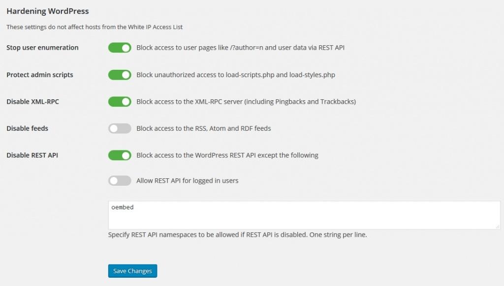 Hardening settings in the WordPress Dashboard