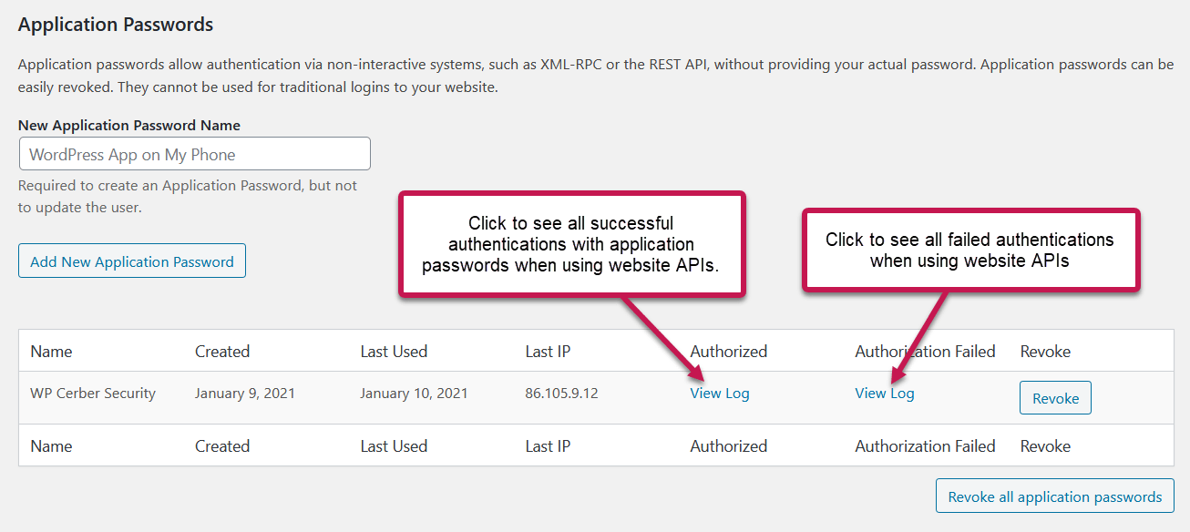 Monitoring application passwords in WordPress