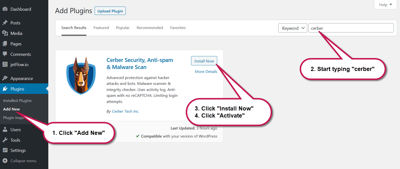 Installing WP Cerber Security on WordPress