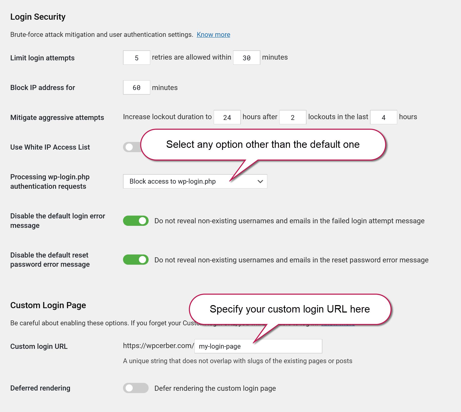 WordPress login security and custom login page settings