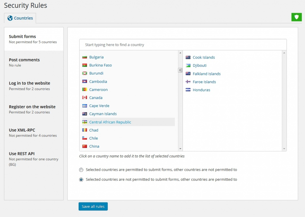 Restrict form submissions on WordPress with country GEO rules