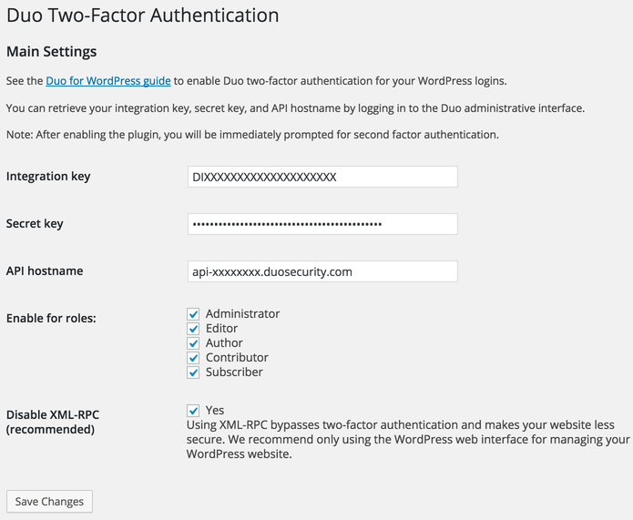Duo Two-Factor Authentication plugin settings