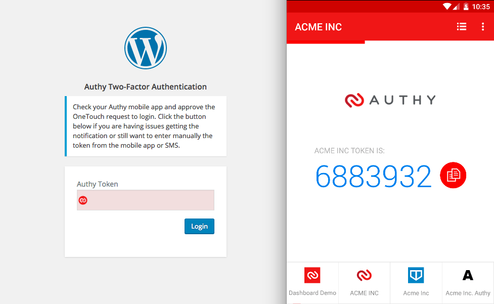 Authy two factor authentication plugin has a user friendly interface
