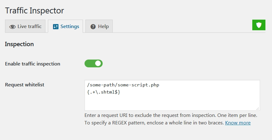 Request whitelist in the WordPress dashboard