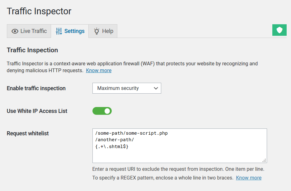 Configuring exceptions for Traffic Inspector's WordPress firewall