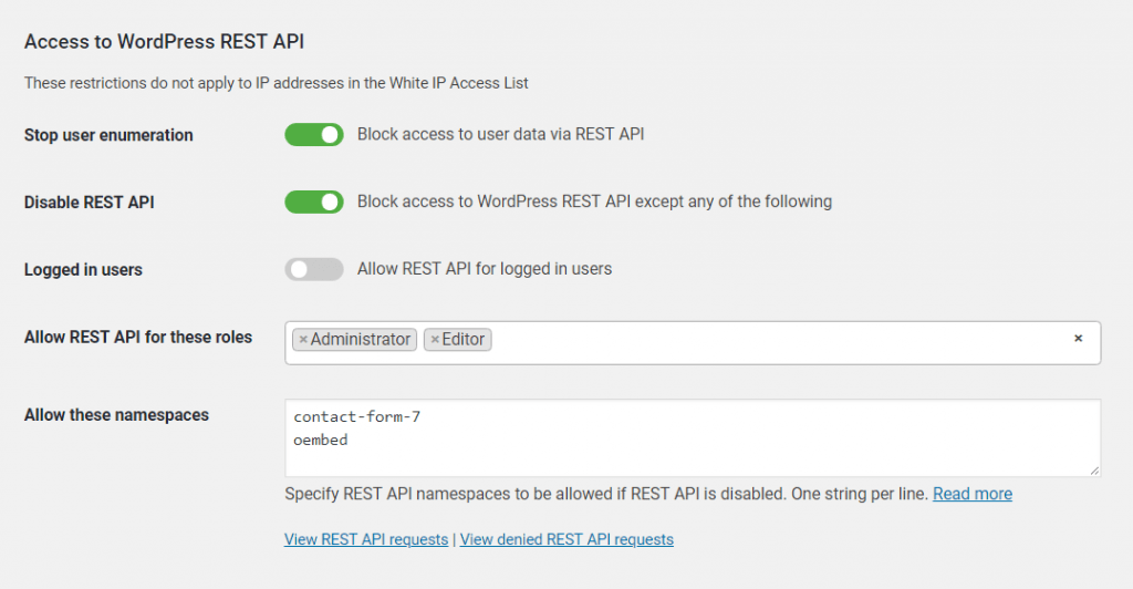 Restrict access to WordPress REST API