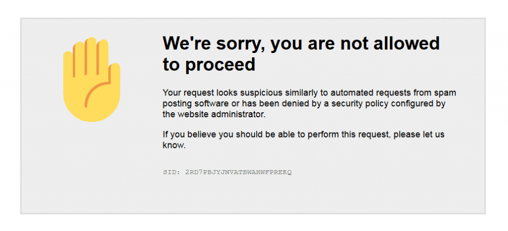Forbidden 403 Page: We're sorry, you are not allowed to proceed